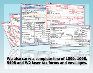 1095, 1098, 1099, 3921, 3922, 5498 Tax Forms, Envelopes, Labor Law Posters, Income Tax, Presentation Supplies, Software